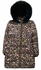 Girls Coat New Kids Leopard Print Padded Fur Trimmed School Jacket 6 - 16 Years