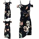 Ladies Floral Velvet Asymmetric Wrap Over Cold Shoulder Women Bodycon Midi Dress