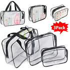 3X Clear White PVC Travel Wash Bag Cosmetic Makeup Toiletry Holder Pouch Set Kit