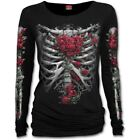 Spiral Direct Red Rose Bones Skeleton Ribcage Heart Black Long Sleeved T-shirt
