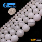 "White Jade Faceted Round Beads For Jewelry Making Free Shipping 15"" 4mm 6mm 8mm"