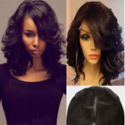 Glueless Lace Front Wig Brazilian Real Human Hair Wig 1B Bob Straight Wavy GF118