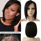 Glueless Lace Front Bob Straight Wavy Brazilian Virgin Human Hair Wig Black GF7