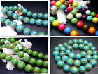 """8mm,10mm,12mm,14MM Blue Howlite Turquoise Gems Round Spacer Beads 16"""""""