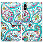 Bcov Paisley Green Leaf Card Slot Wallet Leather Cover Case For iPhone X