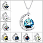 Nightmare Before Christmas Glass Domed Silver Moon Chain Pendant Necklace Gift