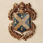 Hooded Knight Plaque Shield Wall Crest Coat of Arms Gold Acanthus Leaves Navy
