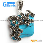 Fashion Square Beads Marcasite Silver Pendant 21x33mm FREE Gift Box +Chain