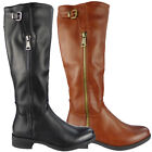 Womens Boots Below Knee Long Mid Calf Rider Boots Zip Heel Winter New Shoes Size