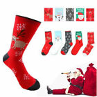 1Pair Men Womens Christmas Cotton Socks Long Santa Snowman Snowflake Socks New