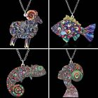New Colorful Printing Animal Sheep Fish Pendant Necklace Women Jewellery Gift