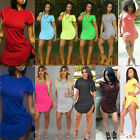 PLUS SIZE Women Casual Tops Short Sleeve Side Slit T Shirt Party Sexy Mini Dress