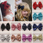Baby Toddler Kids Girls Glitter Shiny Sequined Bow Bowknot Hair Clip Hairpin New