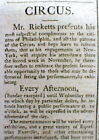 Rare 1794 Philadelphia PA newspaper w LONG AD  for 1st CIRCUS in The US RICKETTS