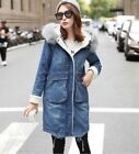 Fashion Womens Winter Thicken Fox Fur Collar Hooded Mid Long Blue Denim Coats