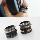 6 Pcs Gothic Punk Rock Style Spike Ring Studded Alloy Men Knuckle Jewelry Charm