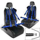 2x Black PVC Leather w/ Red Checked Stitch Racing Seats+Blue 4-PT Seat Belts