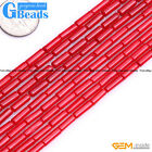 """3x10mm Red Coral Gemstone Column Tube Beads For Jewelry Making Free Shipping 15"""""""