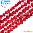 """Square Cubic Red Coral Beads For Jewelry Making 15"""" 7mm 8mm 9mm 10mm 11mm 16mm"""