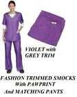 PURPLE Fashion Trim SMOCK/PANT GROOMER Grooming Hair,Water&Stain Resistant Shirt