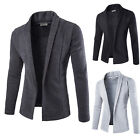 Mens Open Shawl Knitted Cardigan Long Slim Fit Sweater Jacket Coat Blazer Tops