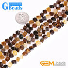 """4mm Natural Brown Cube Stone Beads for Jewelry Making Strand 15"""" Free Shipping"""