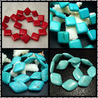 18mm 20X30mm 24X34MM Blue & Red Rhombus Turquoise Gemstone Spacer Beads 16""
