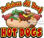 All Beef Hot Dogs DECAL (Choose Your Size) Food Truck Concession Sticker
