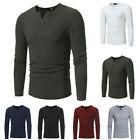Fashion Men Casual Long Sleeve Solid Color V Neck Slim Fit Warm Tops Sweater