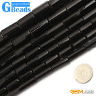 """Natural Black Agate Onyx Gemstone Faceted Column Tube Beads Free Shipping 15"""""""
