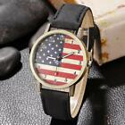 Women Artificial Leather Band Round American Flag Dial Quartz Watch DZ88
