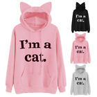 Women Casual Warm Cat Long Sleeve Hoodie Sweatshirt Blouse Jumper Pullover Tops