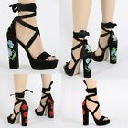 Womens Ladies Embroidered Lace Up Platform High Block Heel Sandals Shoes Size