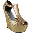 Womens Glitter High Heel Ladies Peeptoe Platform Glitter Wedge Party Shoes Size
