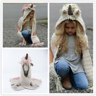 US Kids The Unicorn Hooded Scarf Hat Knitted Braided Skiing Scarves Snood Wraps