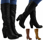 Womes Ladies Mid Calf Zip Fashion Studs Riding High Block Heel Boots Shoes Size
