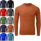 Mens Crew Neck Long Sleeve Pullover Sweater Chunky Cable Knit Winter Warm Jumper