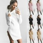 Fashion Womens Knitted Sweater Party Jumper Mini Dress Long Sleeve Polo Neck