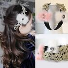 Faux Fur with Rhinestone Lace Trimmed Hair Hoop Hair Accessories For DZ88