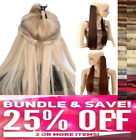 Real Thick Clip In Hair Extensions Long Curly Full Head Auburn Sandy Swedish