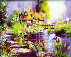 """16x20"""" DIY Home Decor Acrylic Painting Paint By Number Kit Dream Home Pond Swan"""