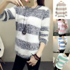 Women Knitted Mohair Sweater Striped Long Sleeve Pullover Jumper Cardigan Fluffy