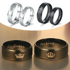 Couple Classic Stainless Steel Rings Her King/His Queen Band Rings Jewelry Gift