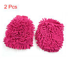 2Pcs Pink Double Side Chenille Wash Mitten Cleaning Glove for Car Vehilce Home