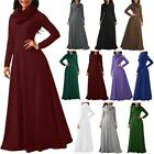 Womens Maxi Dress Cowl Neck Casual Long Sleeve Swing Fall Winter Dress Loose Fit