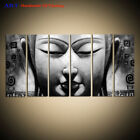 Large Wall Art 6 Panel Modern Black white Buddha Abstract Oil Painting on Canvas