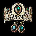 Emerald Crystal Rhinestone Lacy Crown/Tiara & Earrings Clip On Set