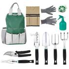 Gardening Tool Set Gloves Tote Trowel Pruners Hand Tools 11 Piece Set Gift US