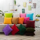 13 Colors Home Decor Square Fur Throw Pillow Fluffy Wave Dots Cushion Case USA