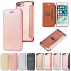 Slim Glitter Bling PU Leather Flip Case Cover for iPhone 5 S SE 6 6S X 7 8 Plus